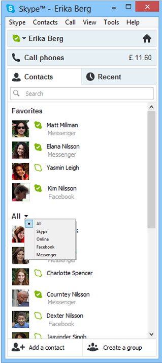 Messenger Friends on Skype