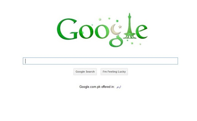 Pakistan's Google Doodle for 14 August 2011