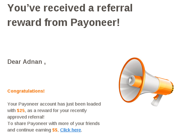 Payoneer Referral Reward